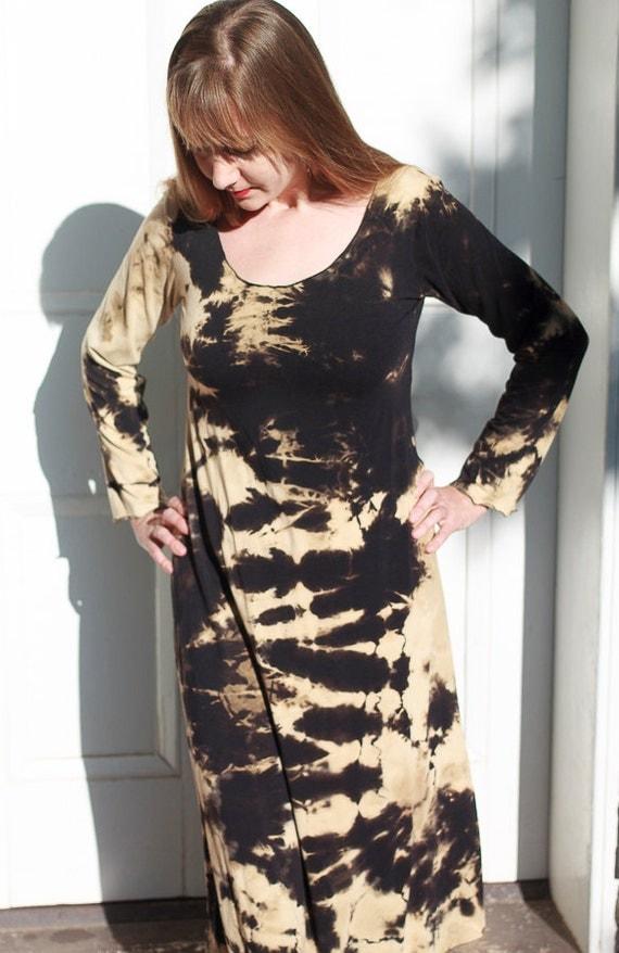 Shibori River Dress, American Grown Black Organic Cotton Jersey, Discharge Shibori A-line Dress