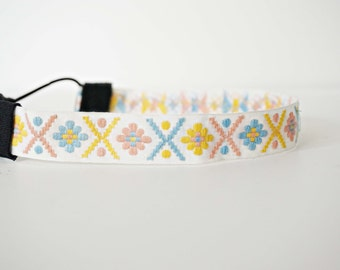 White, Pink, and Yellow Woven Vintage Trim Headband