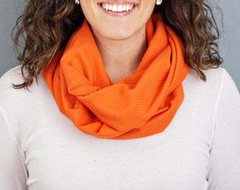 Orange Jersey Knit Infinity Scarf