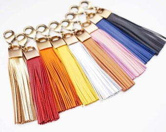 Genuine Leather and Brass Tassel Keychain -choose your color-
