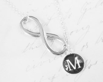 Infinity Necklace, Mother of the Bride Gift, Personalized Necklace, Bridesmaid Gift, Initial Necklace, Bridesmaids Jewelry, P040
