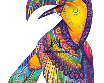 PRINT - Oaxacan Toucan original colored pencil painting, illustration, colorful animal art