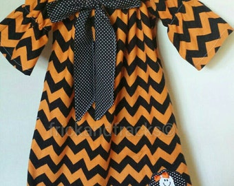Halloween Chevron Peasant Dress with Bow and Ghost Applique, Baby Halloween Dress, Girl Halloween Dress, Toddler Halloween Dress