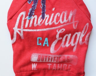 Vermilion American Eagle Upcycled Dog Sweatshirt