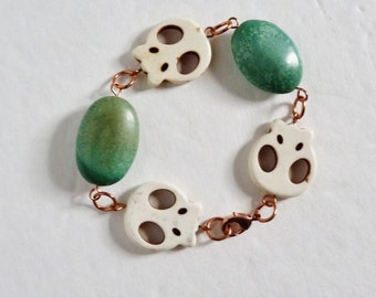 Turquoise and copper the perfect combination, skulls, day of the dead, turquoise bracelet, soho, boho, ,