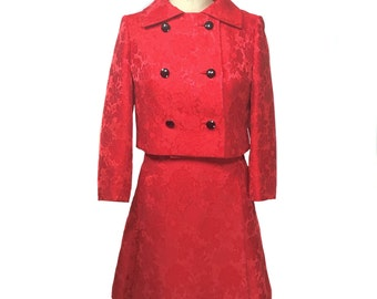vintage 1960's red floral dress set / Hanbury Ltd. / dress jacket / brocade / women's vintage dress set / size small