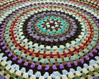 Granny Circle Afghan - Crochet Afghan Throw Blanket