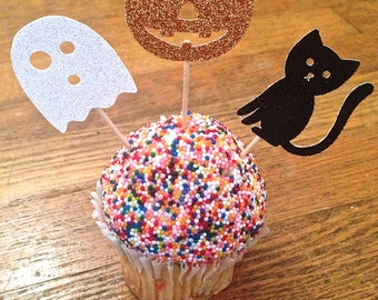 Happy Halloween Cupcake Toppers -- Halloween Party Toppers / Ghost, Cat, Pumpkin Toppers