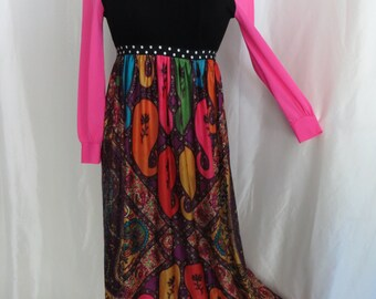 Vintage 70s womens maxi dress, hippy dress, hippie dress, gypsy dress, womens costume, Halloween costume