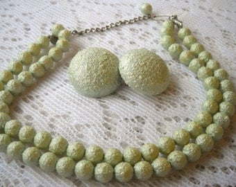 Vintage Green Beaded Choker and Earrings,  Green Jewelry Set, Bumpy Plastic Beaded Clip Back Earrings and Choker Necklace, 1960's Jewelry