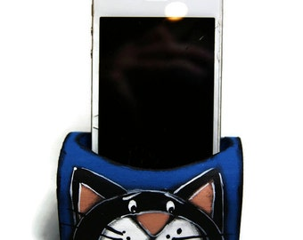 Phone docking station -Mobile phone holder with two cats - Blue mobile phone holder