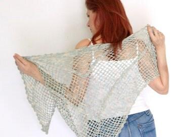 Lightweight shawl, summer shawl, linen shawl, summer wrap, neutrals, Harmonia, vegan friendly, ready to ship