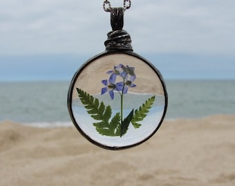 Forget Me Not Flower, Christmas Gift, Forget-Me-Not Pendant, Terrarium necklace, Forget-Me-Not Necklace, Terrarium Jewelry Bridal