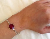 Ruby-Colored Quartz Bracelet on Silver Plated Double Layered Chain