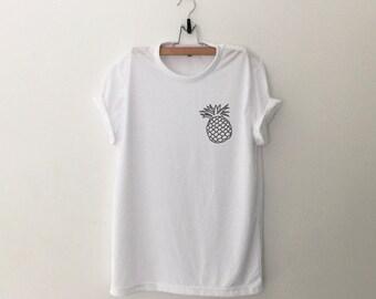 Pineapple Pocket Tee Shirt Funny TShirts Instagram Tumblr T Shirt Womens Graphic Tees Shirts for Teens Girls Gifts Screen print TShirt
