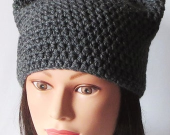 Gray Cat Hat, Crochet Cat beanie, Animal Beanie Hat, Kitty Kitten Hat, Special Gifts. Super Cute all Season Beanie hat, gift for her
