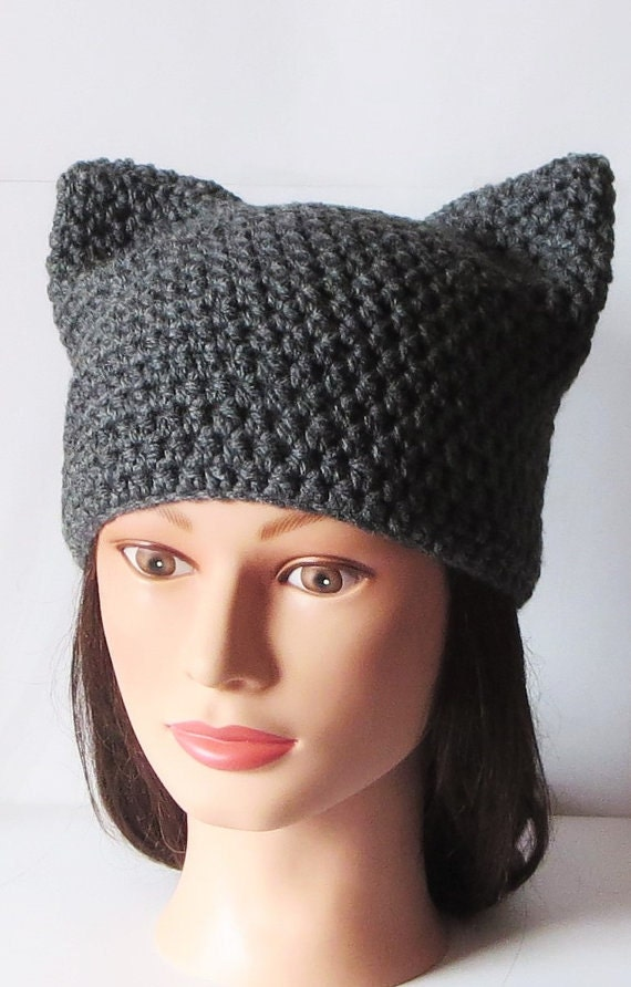 Crochet Kitty Cat Hat Pattern : Gray Cat Hat Crochet Cat beanie Animal Beanie Hat Kitty