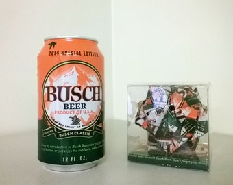 Busch Special Edition Beer Can Origami Ornament.  Upcycled Recycled Repurposed Art