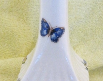 Aynsley England Cottage Garden Vase Floral w Butterfly 7 Inches  SHP