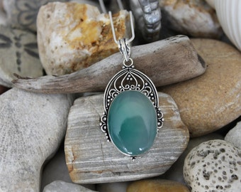 Reiki Attuned Green Chalcedony Silver Pendant Necklace