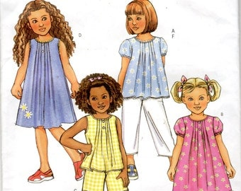 "Easy Girls' Top, Dress, Shorts and Pants Pattern- Size 6, 7, 8 Breast25"" to 27"" - Butteick B4176 uncut"