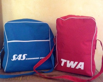 Vintage 1970 s TWA and SAS Airline Travel Luggage Set of 2
