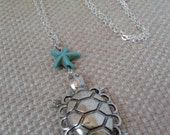 Antique Silver Cast Sea Turtle Pendant Turquoise Star Fish with Silver Chain Link Necklace