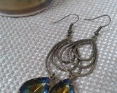 Blue Topaz Rhinestone with Teardrop Connector Dangle Earring with Antique Gold French Ear Loop