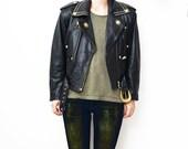 Vintage black leather women 80s biker jacket with golden studs // waist belt // XS