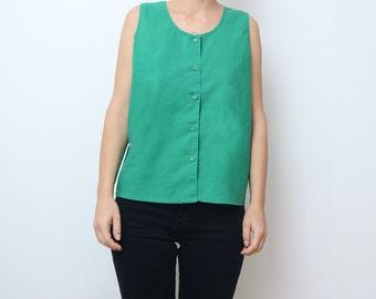 Vintage green cotton button sleeveless top