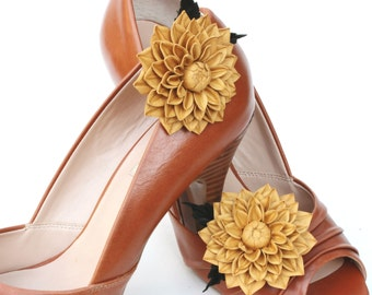 Leather flower shoe clips, wedding shoe brooches, bridal shoe brooches, leather anniversary gift, leather shoe clips UK shop