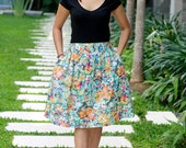 Floral Print Skirt / Colorful Floral Midi SKirt / Knee Length Skirt with Pockets
