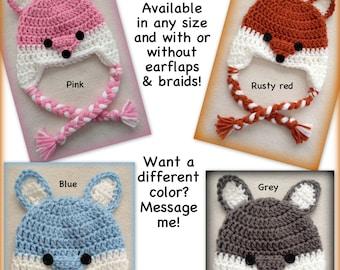Fox hat, any size, braids, boy, girl, baby, newborn, 0-3 months, 3-6 months, adult, red, rust, pink, blue, grey