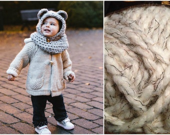 Bear hooded cowl, Wheat color Size 6-12 months