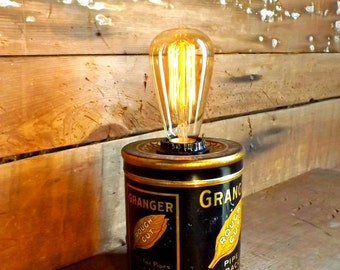 Vintage accent lamp Edison light Tobacco can desk lamp Granger tin can light Industrial decor Retro table lamp Vintage advertising light