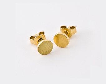 Flat Solid Gold Stud Earrings | Disk Earrings, Small Gold Stud Simple Stud 18k Gold 14k Earring, Minimal Simple Earrings, Gold Nugget