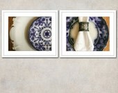 Dining Room Art, Kitchen Photography, Set of 2 Prints, Blue & White Wall Art, Country Farmhouse Decor