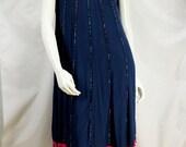 Embroidered ethnic dress Sleeveless midi dress Navy blue tribal tunic Hippie clothes Summer dresses Bohemian clothing Festival Boho dress S