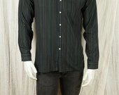 Milticolor stripes shirt Long sleeve mens shirts Vintage men's clothing 90s preppy casual black shirt S M fitted button down cotton shirt