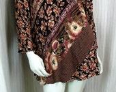 Plus size clothing Vintage boho tunic dress Long sleeve top Oversized tunics Bohemian clothes Patchwork blouse Floral tunic top Xl 1X 16