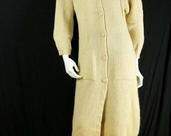 80s wool sweater coat Long cardigan Mohair sweater jacket Casual women knit coat Oatmeal duster Bohemian coat Rustic Chic wool coat S M