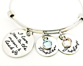 Personalized I Love You To The Moon And Back Adjustable Bracelet - Hand Stamped Jewelry - Bangle Bracelet - Child Names & Birthstones - Gift