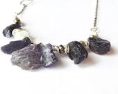 RESERVED illuminated exploration. iolite gemstone necklace OOAK handmade VISION