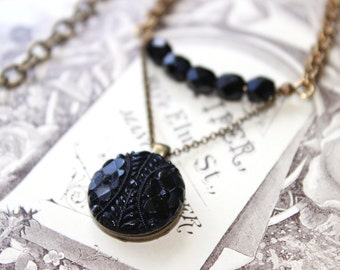 Antique Black Glass Necklace, Mourning Jewelry, Demi Pendant Necklace Beaded Black, Antique Button Jewelry veryDonna