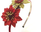Holiday Headband, Handmade Hair Accessory, Red Gold Flower. Glitter, Holiday Bling, Christmas Accessory