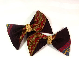 Vintage Bow Hair Clips - Bow Tie Barrette Set - Retro Bow Hair Accessory - Designer Hair Bows - Vintage Bow Barrette - Bow Tie Hair Clip