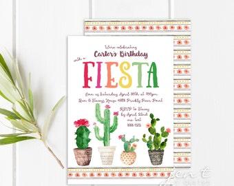 Cactus Fiesta Invitations - Birthday Invitations - Cinco de Mayo Invitations