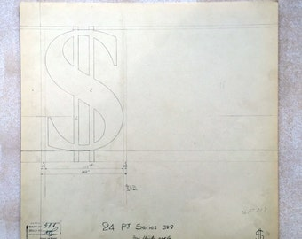 Original Font Drawing: Dollar sign. Vintage font casting drawing. Industrial drawing. Typography. Type design. Graphic design geek.