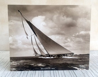 Breken of Cowes: original hand-made enlargements using original glass negative plates from 1930s. J-Class yachts photographs ready to frame.