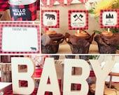 Lumberjack Baby Shower Decorations Package plaid red black printable